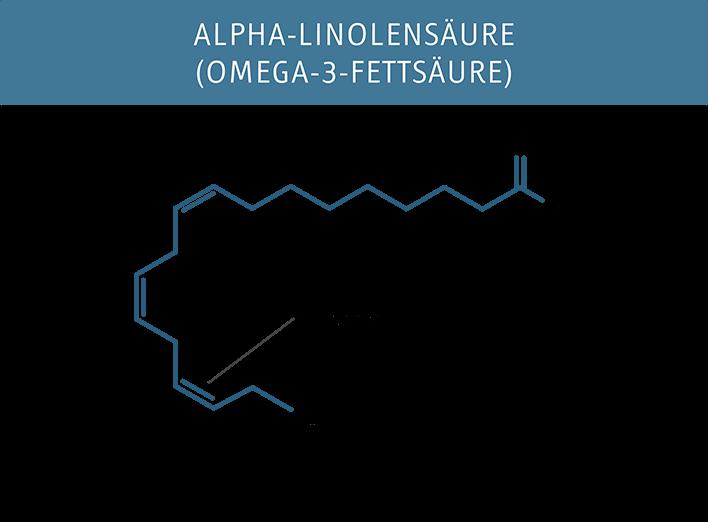 Molekuelstruktur der Alpha-Linolsaeure (Omega-3)