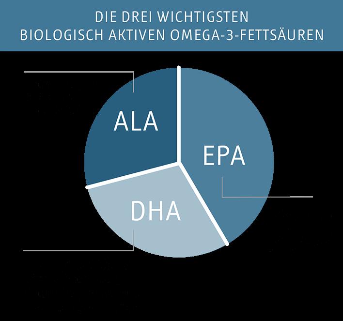 EPA, DHA und ALA - Die drei wichtigsten Biologisch aktiven Omega-3-Fettsäuren